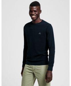 Gant Cotton Pique Sweater Evening Blue